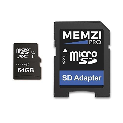 Memzi Pro 64GB Micro-SDXC Speicherkarte für DJI Quadcopter oder Drohnen-High Speed Class 1095MB/s Lesen 60MB/s Schreiben UHS-I class 34K 2K 3D Full HD Aufnahme mit SD Adapter
